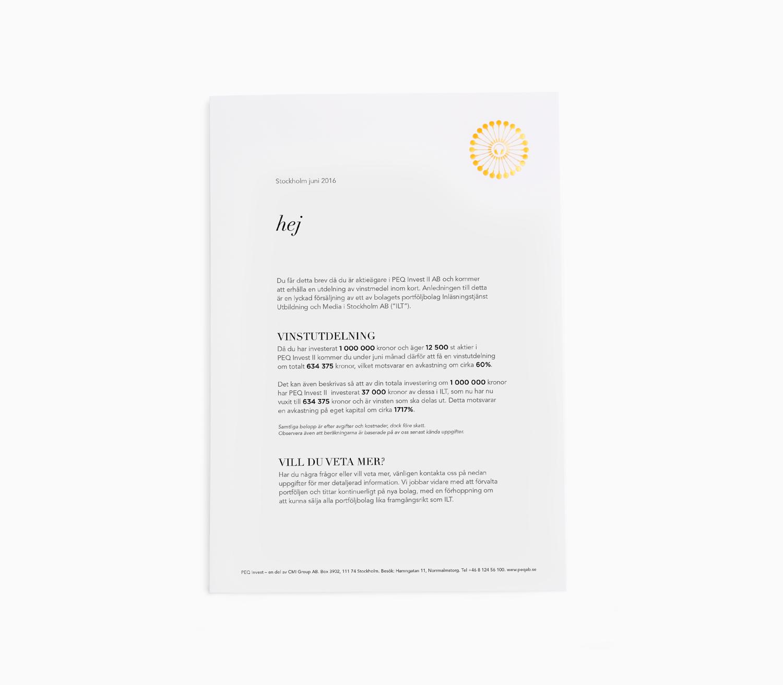 38660e6563a Riktat brev med handtillverkat kuvert. PEQ Invest II AB informerar  aktieägare om vinstutdelning efter en bolagsförsäljning.